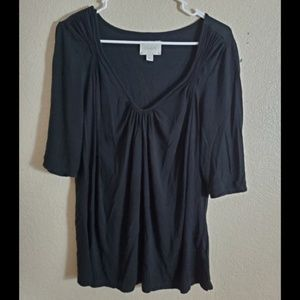 Deletta Anthropologie Black Ruched Blouse Top